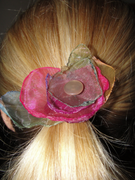 Rainbow Organza Fabric Flower Pony-O