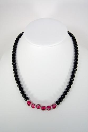 16 Semi-Precious Gemstone and Hand Painted Glass Bead Necklace