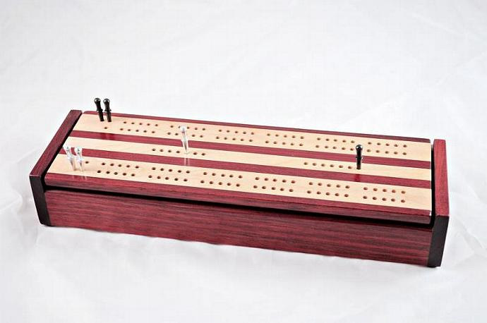 Dual Deck Wood Cribbage Board Box - Bloodwood & Maple