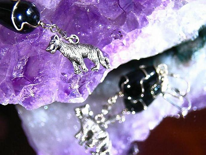 Night Hunt Wolves and wire wrapped earrings silver lever back
