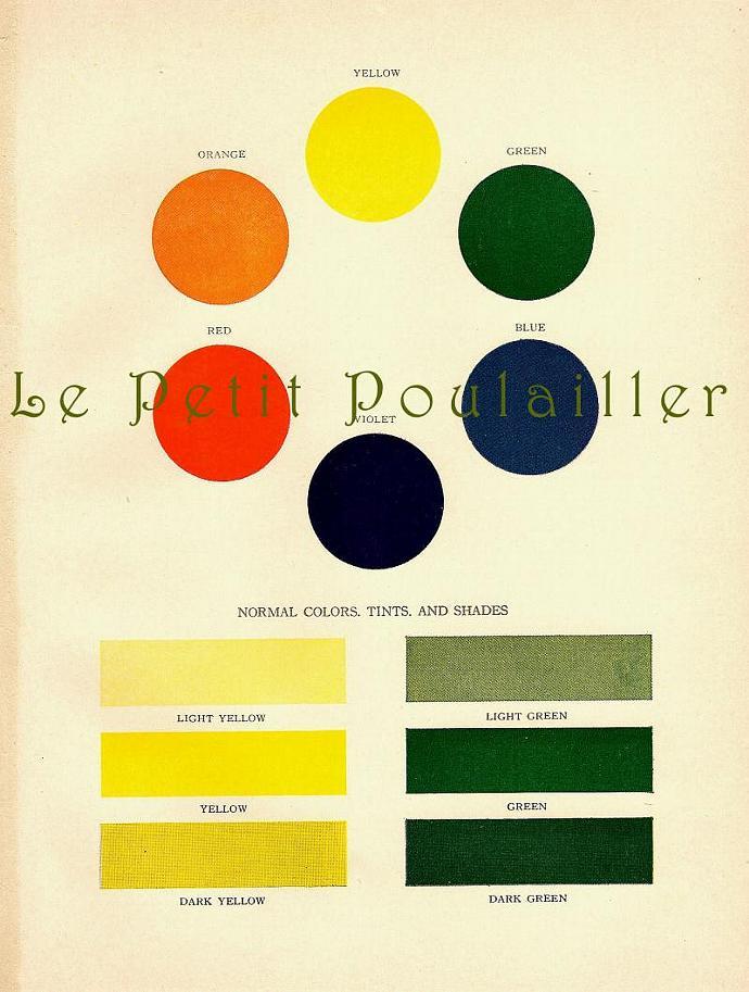 Artist Wheel of Colors, Tints, Shades 1927 Antique Color Design Lithograph