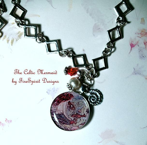 The Celtic Mermaid- resin pendant necklace