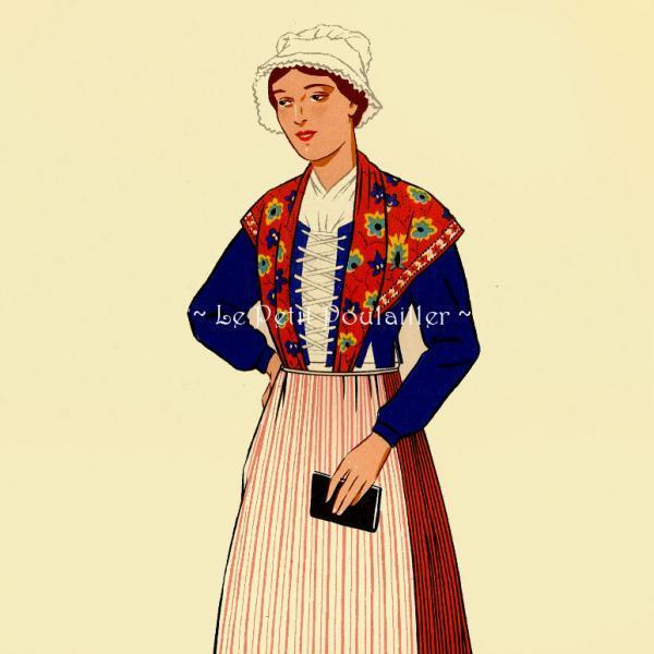 Franche Comte Burgundy Woman 1939 Antique French Fashion Folio Pochoir Print
