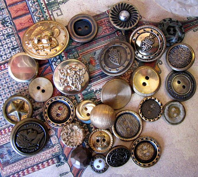 Metal Vintage and Antique Buttons, Packet of 27