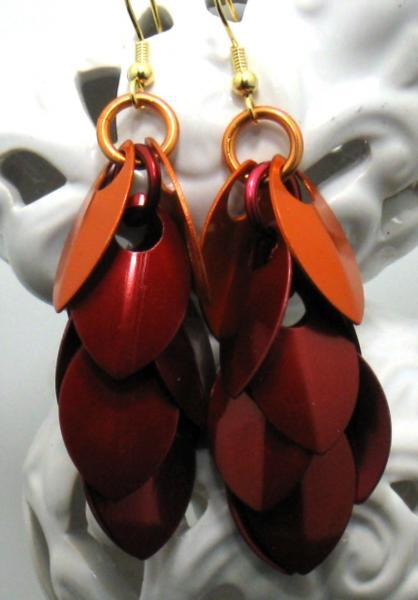 Fire Rain Chainmaille Earrings