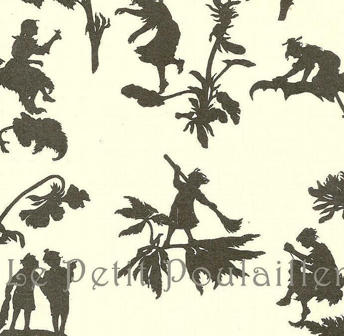 Garden Fairy Silhouettes 1927 Children's Nursery Art Lithograph