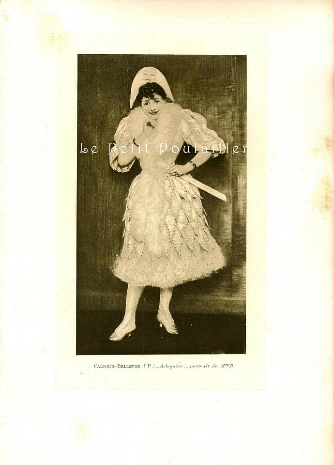 The Harlequin 1896 Antique Pierre Carrier-Belleuse Paris Salon Engraving