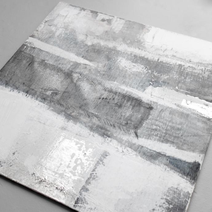 collage, Original Fine Art Abstract, Contemporary Wall Art, Modern Art, silver