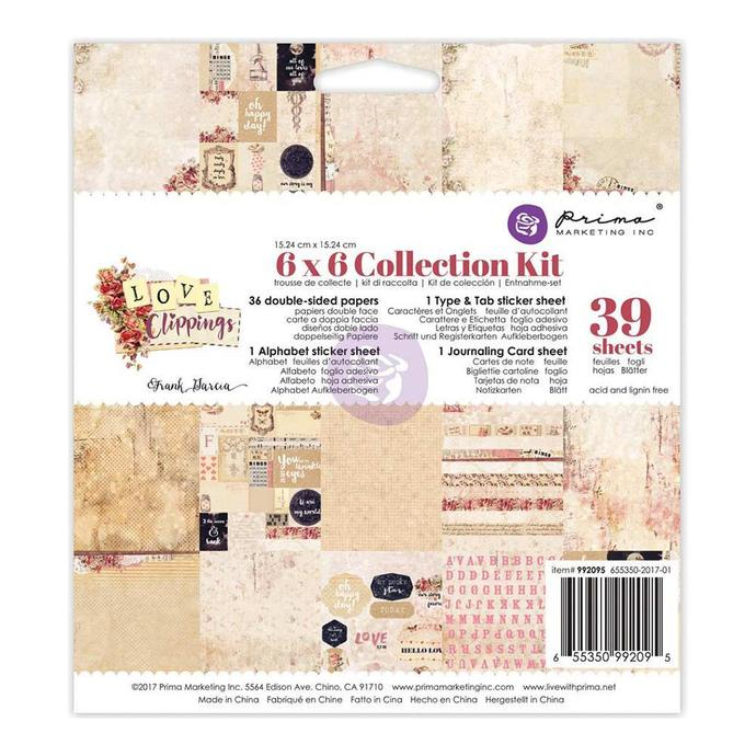 "Prima Marketing Love Clippings Collection Kit 6""X6"""