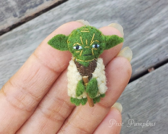 Star Wars Plush Toy, Miniature Felt Yoda, Yoda Stuffed Plush, Tiny Felt Yoda,