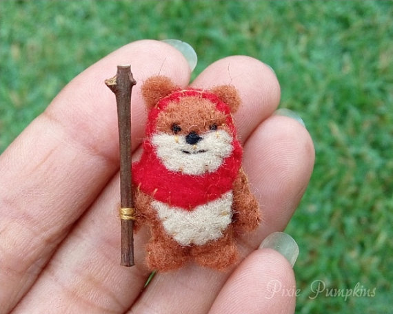 Miniature Felt Ewok, Ewok Miniature Plush, Tiny Felt Ewok, Felted Miniature