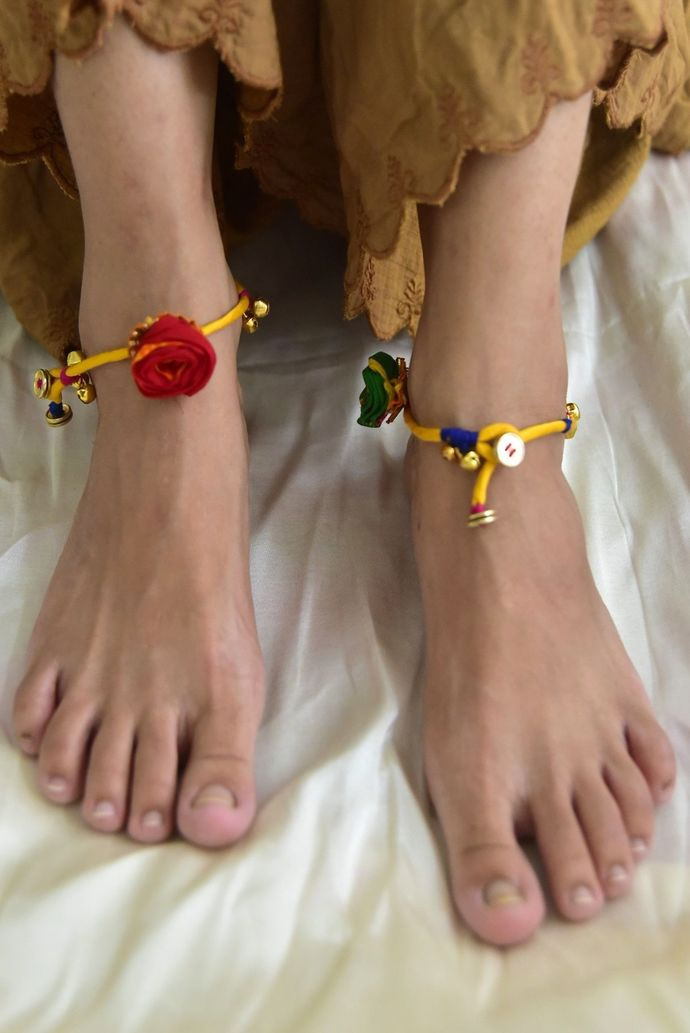 Payaliya Yellow Mashru Anklet