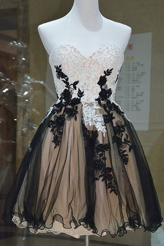 Cute Prom Dress,Tulle Homecoming Dress,Sweetheart Graduation Dress,Appliques
