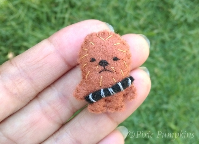 Felt Miniature Chewbacca, Chewie Miniature Plush, Tiny Felt Chewie, Felted