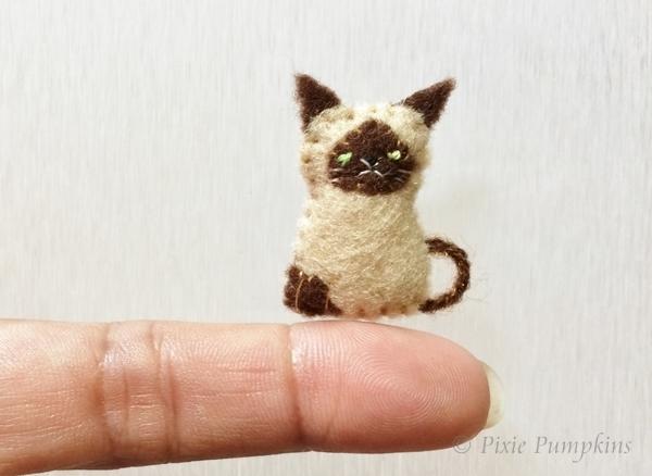 Tiny Felt Siamese Cat, Felt Animal Plushie, Miniature Felt, Felted Kitty,