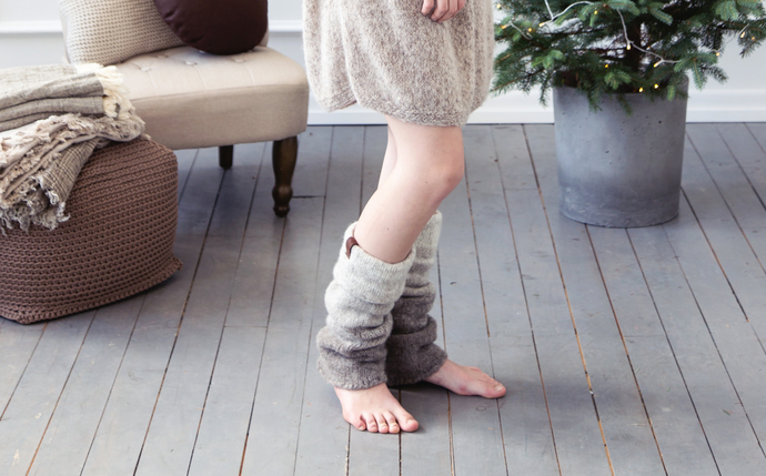 Ombre yoga leg warmers in beige to brown natural wool, boiled wool leg warmers