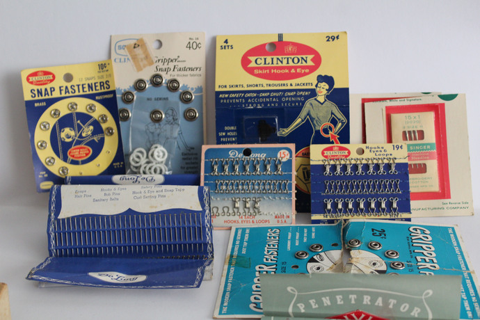 Vintage Sewing items- Gripper Fasteners, Hooks, Eyes and Loops, Delong brass