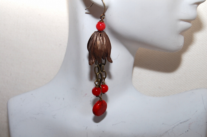 Long drop coral earrings.