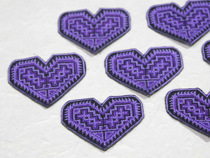 Hmong Embroidery Purple Heart Pattern Fabric By Craftnsupply On Zibbet