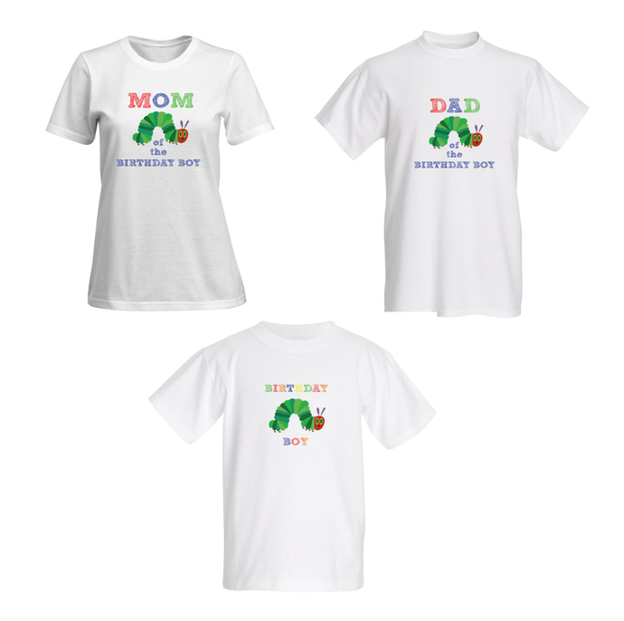 Family shirts-  Caterpillar Party - Dad, Mom and Birthday boy- T-shirt