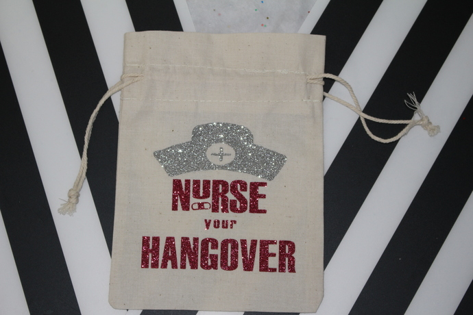 Personalized Hangover Kit, Bachelorette Party Bag, Drawstring Favor Bags, Nurse