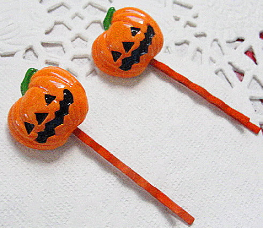 PUMPKIN Kawaii RESIN Hair Deco--Bobbi Pins-Halloween Fun Hair Art-Hair Pins