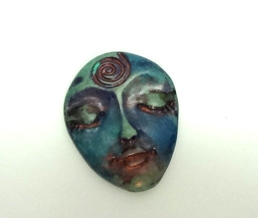 Antique Verdigris Art Doll Face Cabochon - handmade