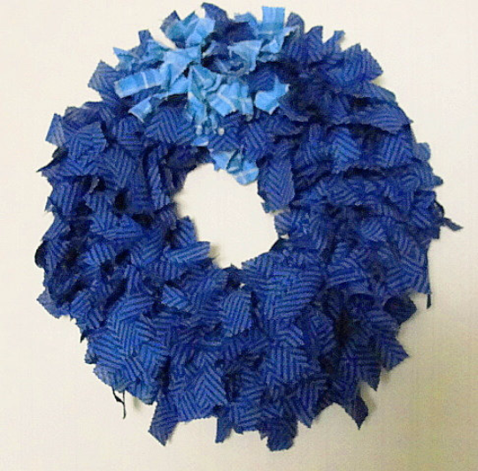 RAG WREATH-Door - ON SALE-Scraggle Wreath-Love The Blues-Country