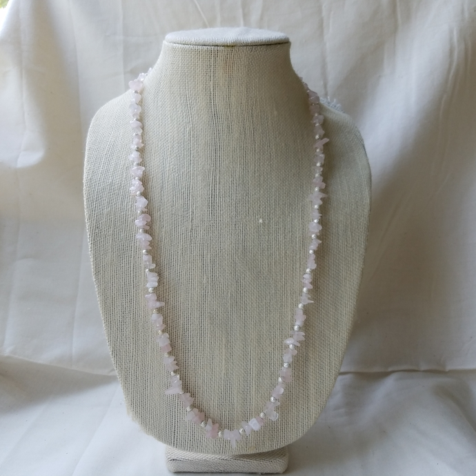 -SALE- Necklace, Bracelet, and Earrings SET, Natural Rose Quartz Gemstone, Free