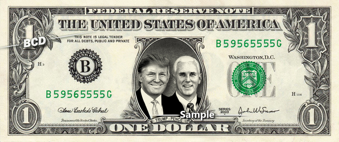 Donald Trump & Mike Pence on a REAL Dollar Bill Money Cash Collectible