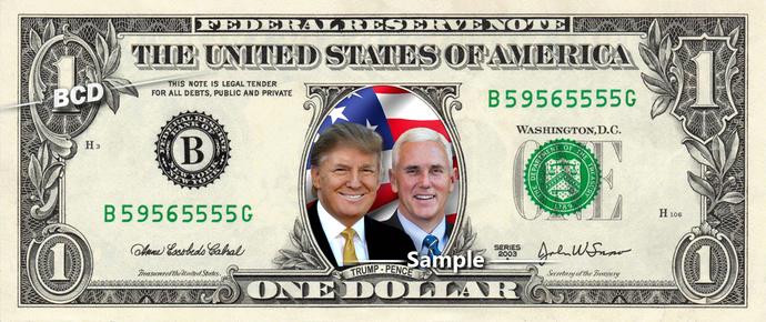Donald Trump & Mike Pence - REAL Dollar Bill Money Cash Collectible Memorabilia
