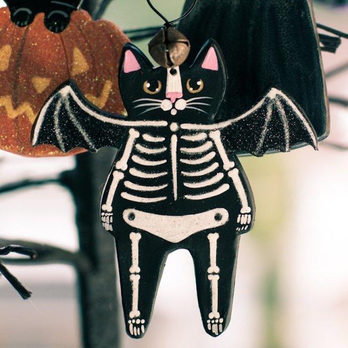 Skeleton Bat Cat Folk Art Glittery Clay Halloween Ornament