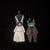 Frankencat and Bride Original Folk Art Glittery Clay Halloween Ornament
