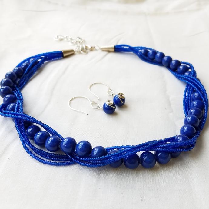 Royal Blue Multi Strand Statement Necklace & Earrings SET
