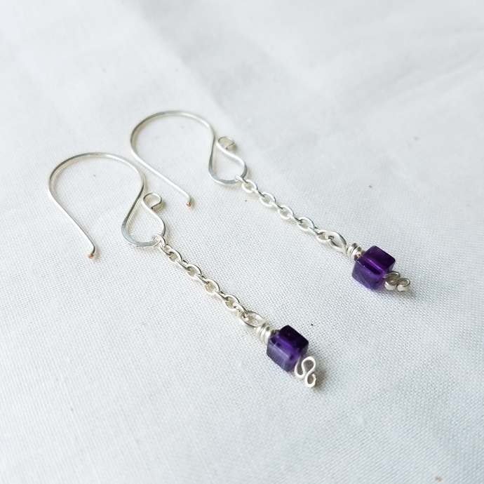 Amethyst Dangle Earrings, February Birthstone Jewelry, Minimalist Earrings