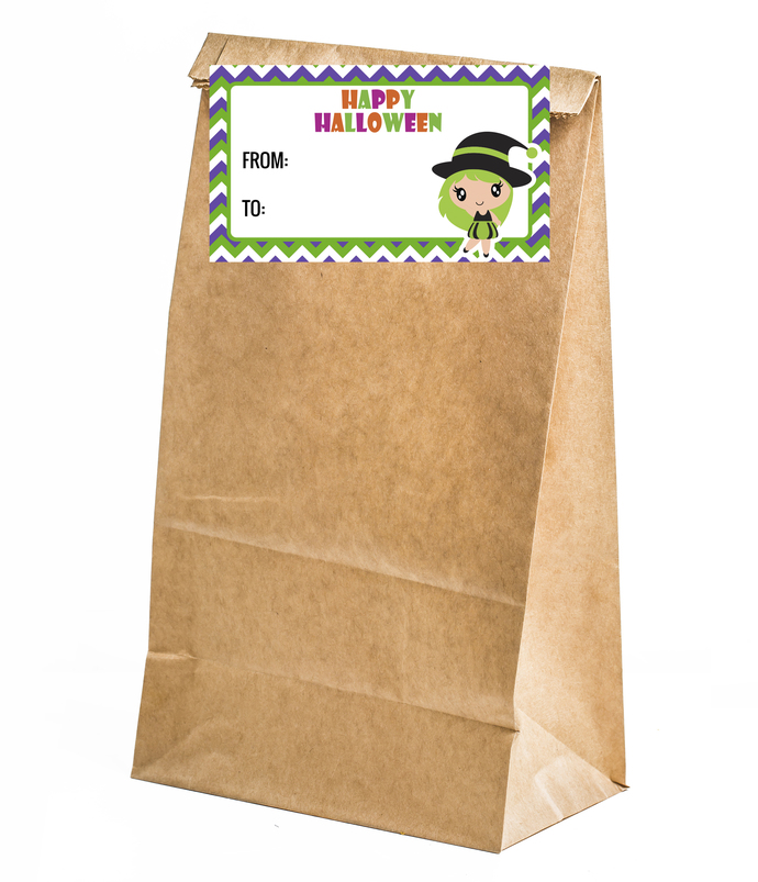 20 Happy Halloween Labels - Cute witch 2- Printed