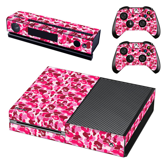Pink Camouflage decal for xbox one console & controllers sticker skin