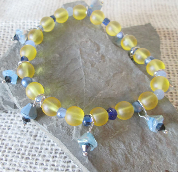Yellow and Blue Bracelet/ Boho Bracelet/ Star Bracelet/ Stretch Bracelet/