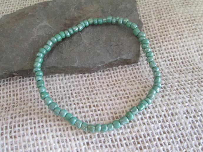 Green Stackable Bracelet/ Seed Bead Bracelet/ Stretch Bracelet/ Casual Bracelet/