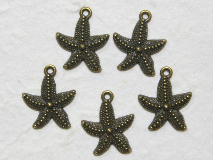 5 pcs • 20x23 mm • Star Fish Brass Charm Pendant