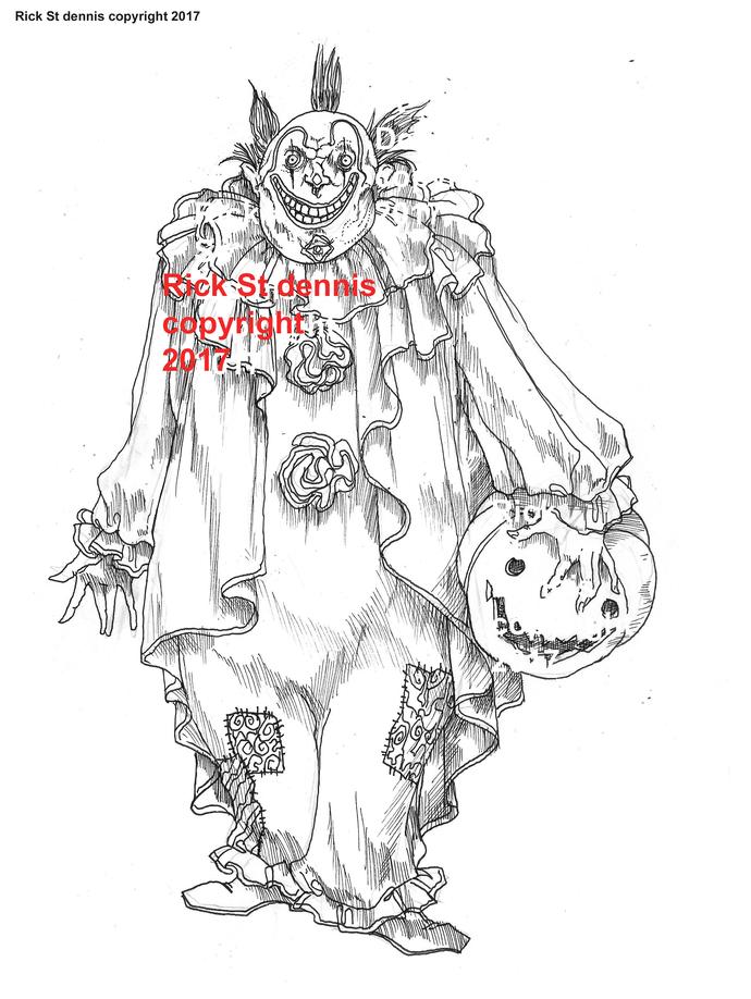 2017 Halloween Clown digi stamp