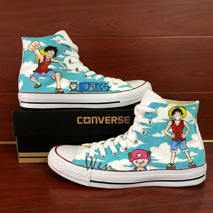 Anime One Piece Hand Painted Shoes Design Monkey D. Luffy Tony Tony Chopper