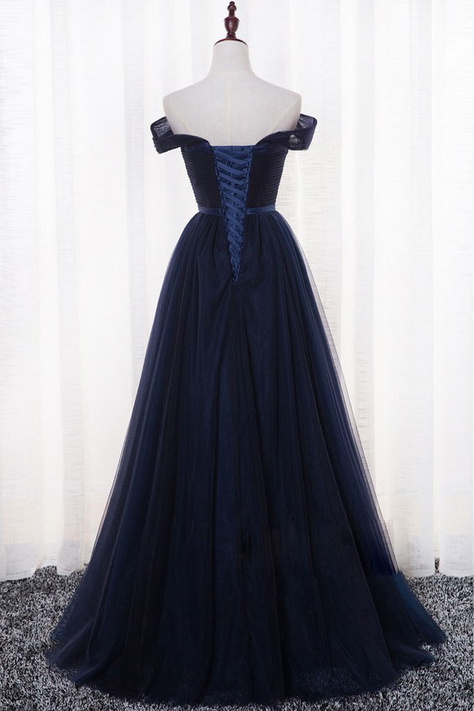 Dark Navy Tulle A-Line Charming 2018 Prom Dresses,Prom Dresses,Formal Women