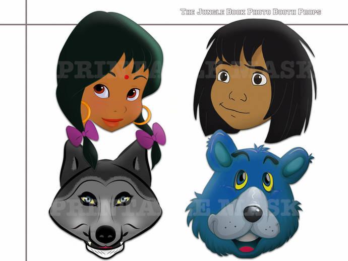 Unique 4 The Jungle Book Photo Booth Prors, Mowgli mask, wolf of Akela costume,
