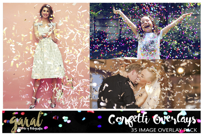 Confetti Photoshop Overlays, confetti overlays, Photoshop overlay, party