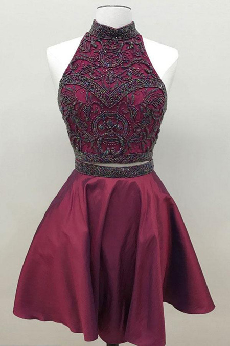 H44 A-line Halter Burgundy Short/Mini Homecoming Dress Flowers sleeveless Straps