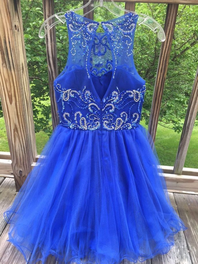 H46 Halter Royal Blue Short/Mini Homecoming Dress sleeveless Straps Beading