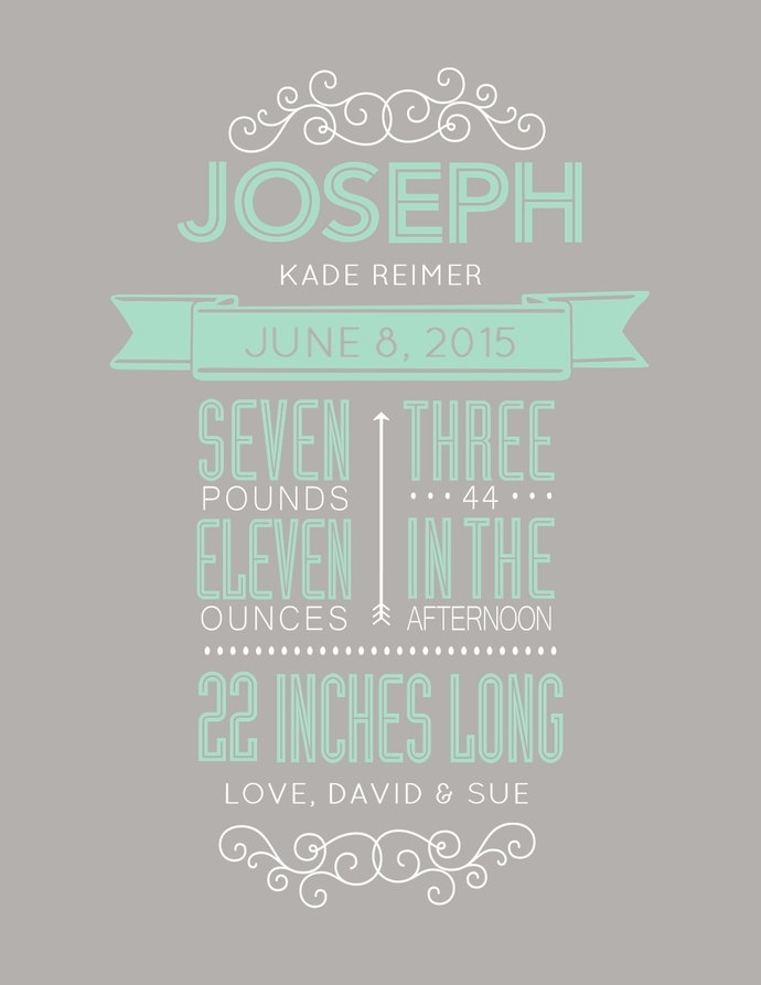 """Proud Moment birth announcement - A2 size - 4.25""""x5.5"""""""