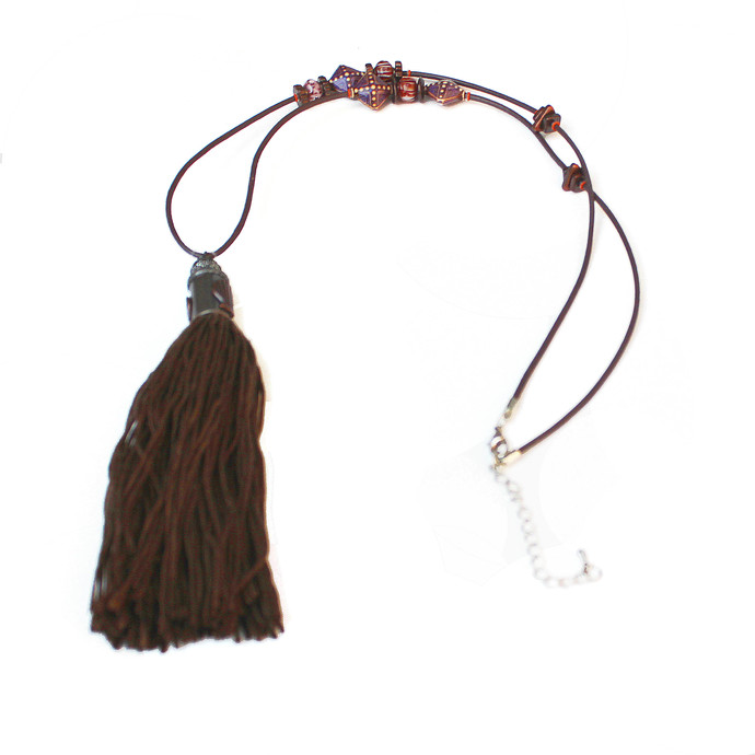 Brown Mirage Beaded Necklace with a large Brown Tassel Pendant, Brown Leather,