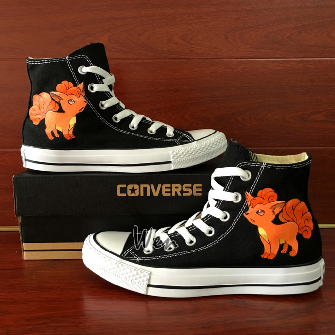 Pokemon Shoes Hand Painted Converse Vulpix Fox Black Canvas Sneakers for Men